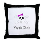 Skull Grrrl - Veggie Chick Throw Pillow