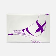 Purple Ribbon Pigeon Rectangle Magnet