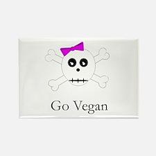 Skull Grrrl - Go Vegan - Rectangle Magnet (100 pac