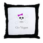 Skull Grrrl - Go Vegan - Throw Pillow