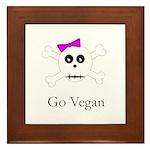 Skull Grrrl - Go Vegan - Framed Tile