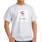 Skull Grrrl - Go Vegan - Ash Grey T-Shirt