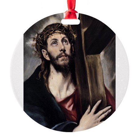 Christ carrying the Cross Round Ornament