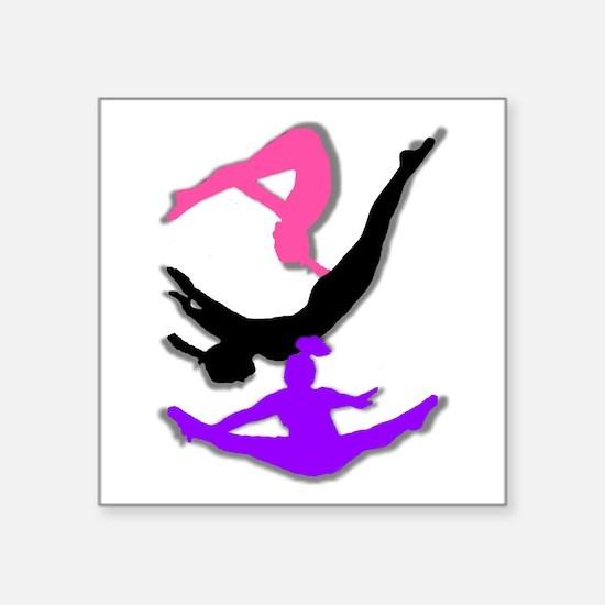 "Trampoline Gymnast Square Sticker 3"" x 3"""
