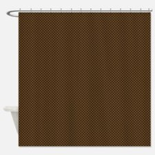 Brown Polka Dot Print Shower Curtain