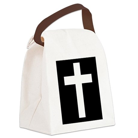 White Cross Canvas Lunch Bag