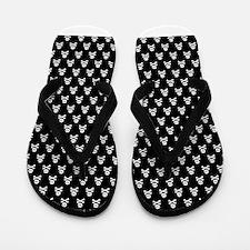 White Black Skull Crossbones Print Flip Flops