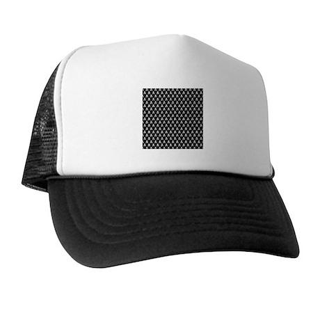 White Black Skull Crossbones Print Trucker Hat