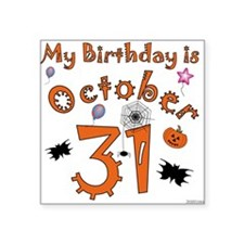 "Halloween Birthday Square Sticker 3"" x 3"""