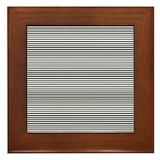 Black White Stripes Framed Tile
