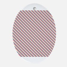 Red Blue Nautical Stripes Ornament (Oval)