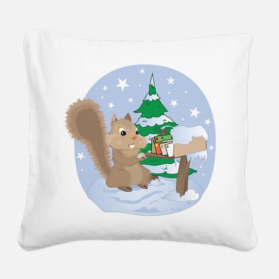 Holiday Squirrel Scene Square Canvas Pillow