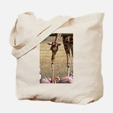 Giraffe and Flamingo Tote Bag