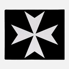 White Maltese Cross Throw Blanket
