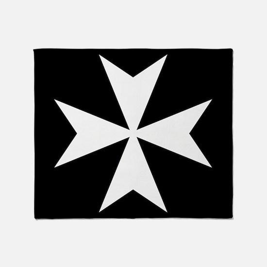White Maltese Cross Throw Blanket