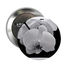 """Black and White Orchid 2.25"""" Button"""