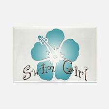 Swim Girl - Blue Rectangle Magnet (100 pack)