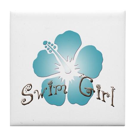 Swim Girl - Blue Tile Coaster