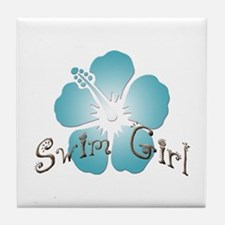 Swim Girl - Blue Tile Coaster