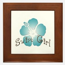 Swim Girl - Blue Framed Tile