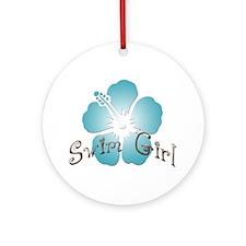 Swim Girl - Blue Ornament (Round)