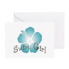 Swim Girl - Blue Greeting Cards (Pk of 10)