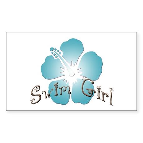 Swim Girl - Blue Rectangle Sticker