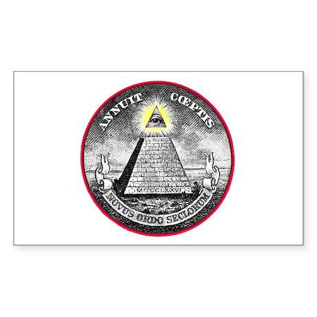 "Weird Dollar ""Illuminati"" Rectangle Sticker"