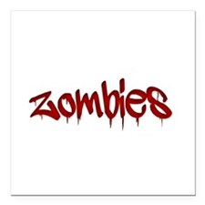 """White Zombies Square Car Magnet 3"""" x 3"""""""