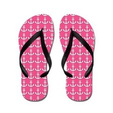 Pink and White Ship's Anchor Flip Flops