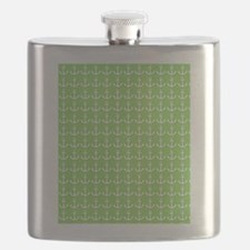 Lime and White Ship's Anchor Flask
