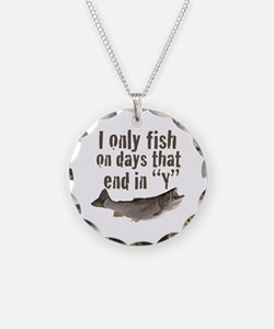 I fish Necklace Circle Charm