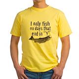 Funny fishing Mens Classic Yellow T-Shirts
