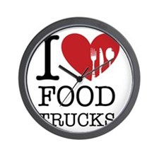 I Love Food Trucks Wall Clock