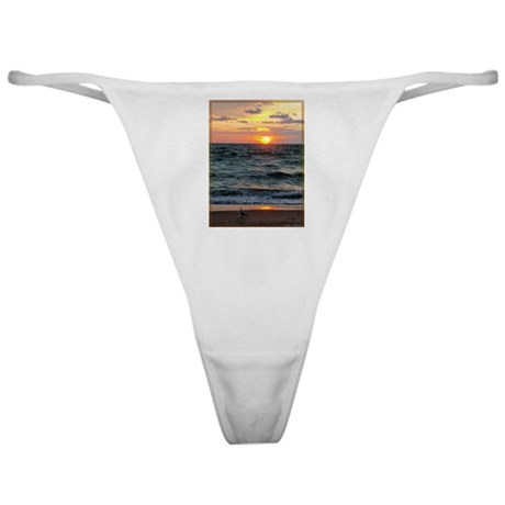 Sunset, seagull, lake, photo Classic Thong