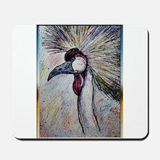 Grey Crowned Crane! Bird art! Mousepad