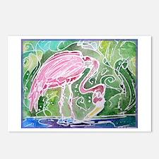 Flamingo! Fun bird art! Postcards (Package of 8)