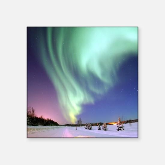 "Alaska Aurora Square Sticker 3"" x 3"""