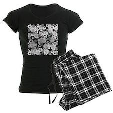 Black and White Floral Pattern Pajamas