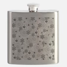 Black and White Floral Pattern Flask