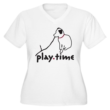 Play Time Women's Plus Size V-Neck T-Shirt
