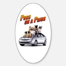 Pugs on a Prius Oval Decal