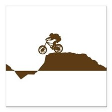 "Mountain Bike Square Car Magnet 3"" x 3"""