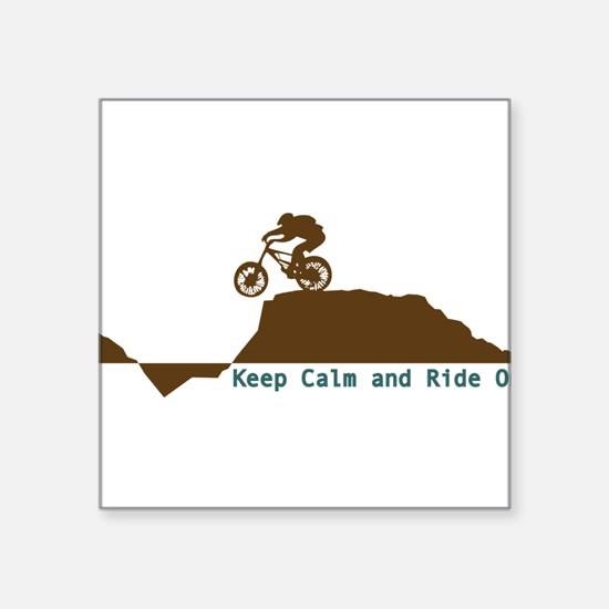 "Mountain Bike - Keep Calm Square Sticker 3"" x 3"""