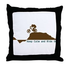 Mountain Bike - Keep Calm Throw Pillow