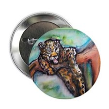 "Leopard! Wildlife art! 2.25"" Button"