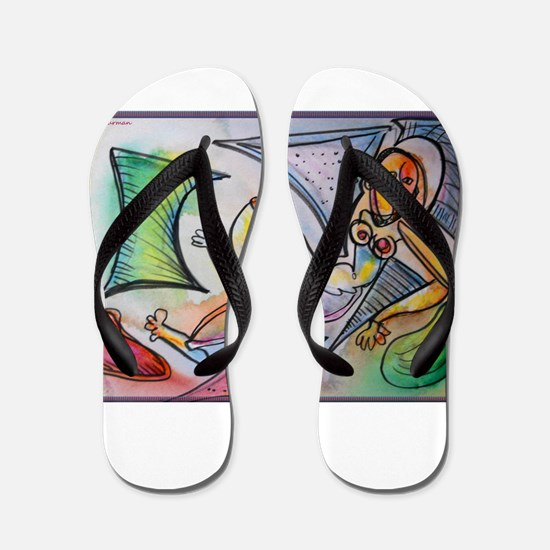 Abstract nude, colorful, fun art! Flip Flops