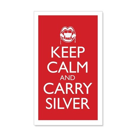 Keep Calm and Carry Silver 20x12 Wall Decal