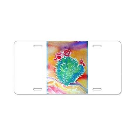 cactus! colorful southwest art! Aluminum License P