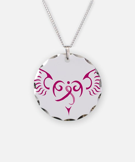 Breast Cancer Awareness Angel Heart Necklace